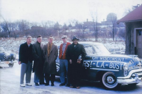 Carson Gulley and four UW–Madison students pose in front of his car before leaving Madison for Pasadena for the 1952 Rose Bowl.