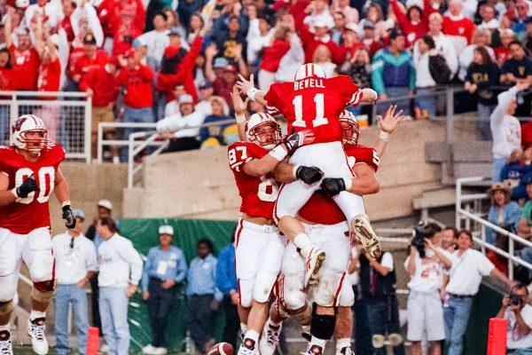 Badger football quarterback Darrell Bevell celebrates touchdown during 1994 Rose Bowl game
