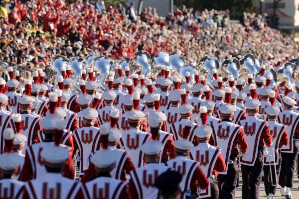 The UW-Madison Marching Band performs during the 123rd Tournament of Roses Parade in Pasadena, CA, on Jan. 2, 2012.
