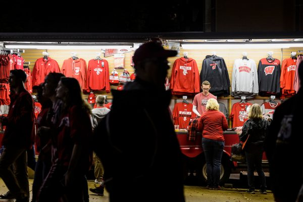 Fans shop for merchandise at the University Bookstore