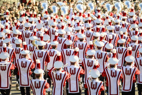 Members of the UW Marching Band perform during the Tournament of Roses Parade